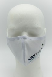 Textil-Maske 3-lagig, mit Gummizug, waschbar, mit Logo-Druck