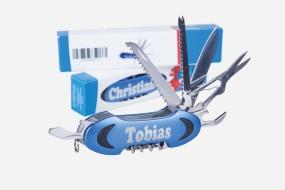 Taschenmesser Multitool blau mit 11 Funktionen und persönlicher Namens-Lasergravur