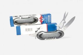 Taschenmesser Multitool grau mit 7 Funktionen und persönlicher Namens-Lasergravur